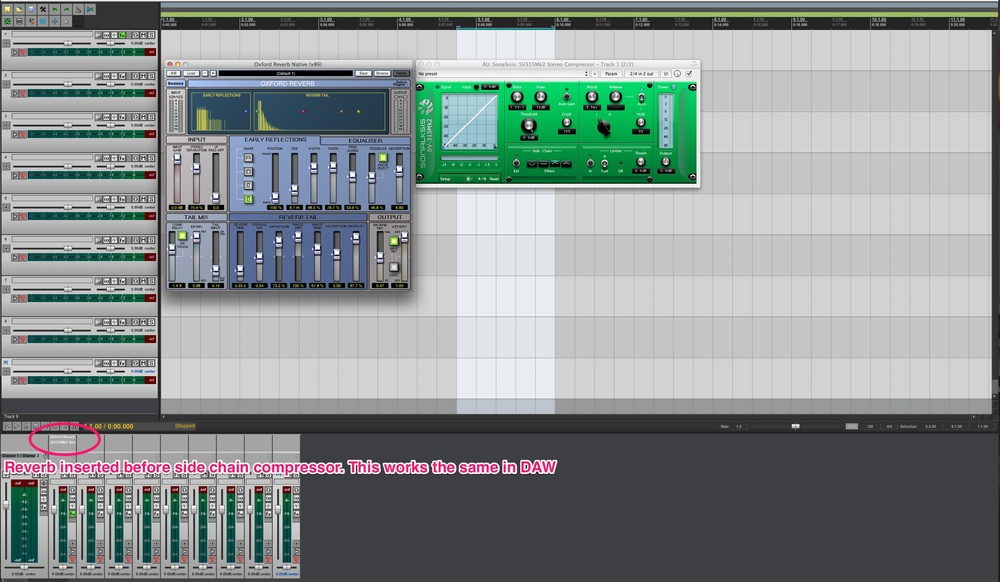 Sony's Oxford Reverb inserted before the sidechain compressor in Reaper