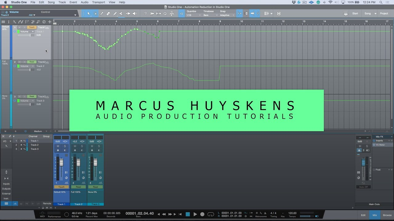 "Studio One 4 Quick Tip – Using The Automation ""Reduction Level"" Setting To Smooth Out Automation By Group Member Marcus Huyskens"