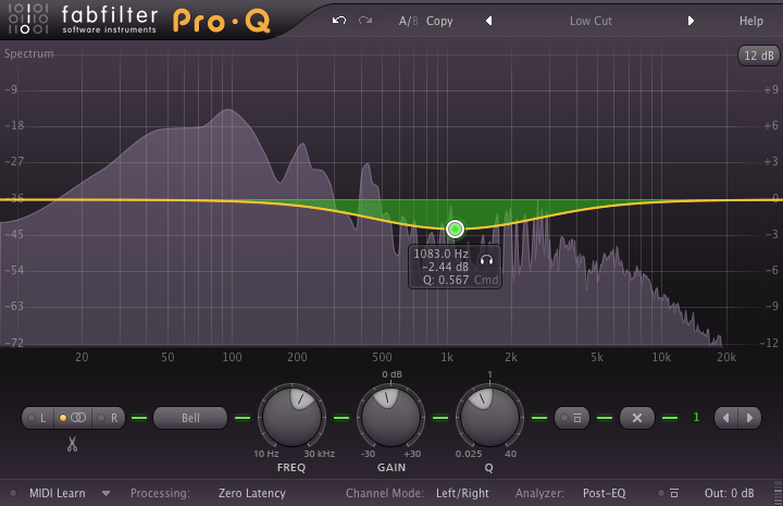 Wide Q to work on those reverb build up's in the mid range
