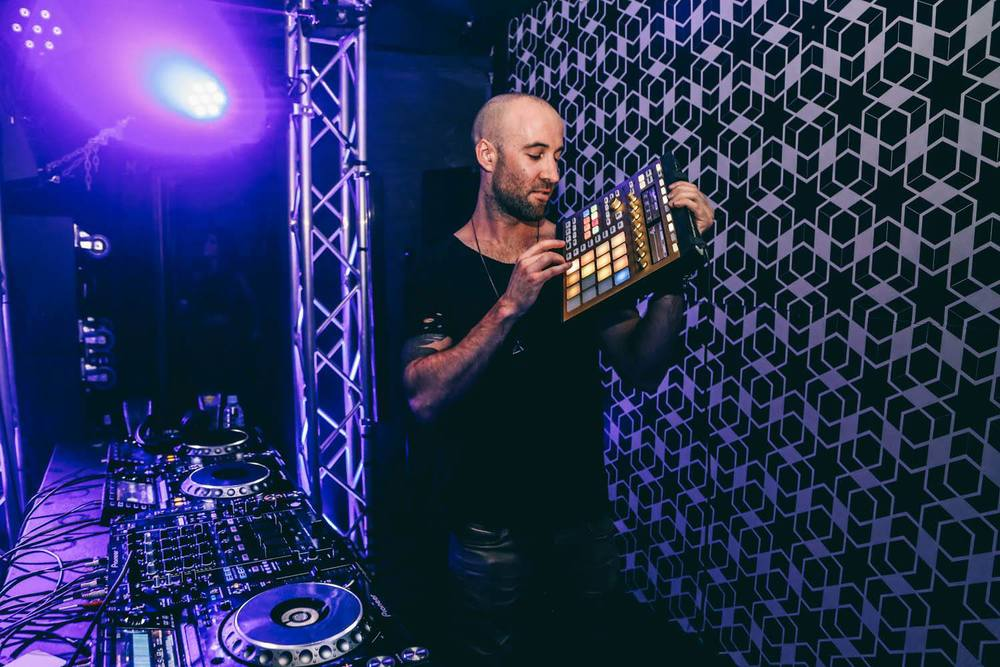 Playing his NI Maschine live