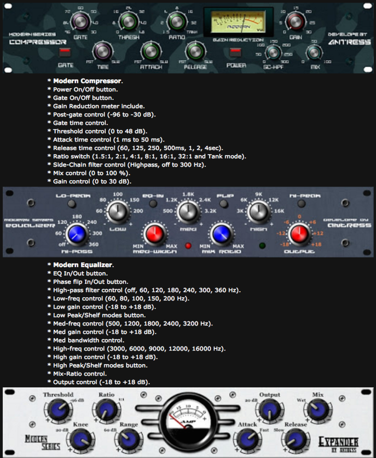 Antress Modern Plugins - Free Windows 32bit VST Plugin Bundle